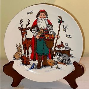 Vintage Woodland Santa plate, Potpourri Press 1993